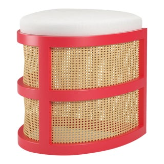 Isabella Demi Stool - Bull's Eye Red, Optic White Linen For Sale