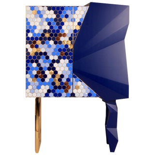 Honeycomb Blue and Gold Leaf Cabinet, Royal Stranger For Sale