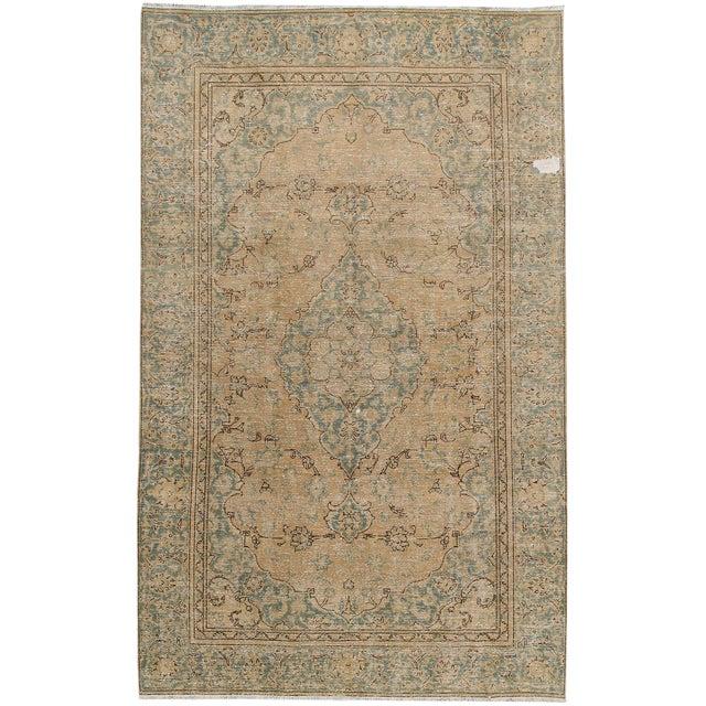 Vintage Distressed Persian Tabriz Rug For Sale