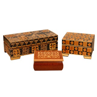 Bohemian Inlaid Trinket Boxes, Set of 3 For Sale