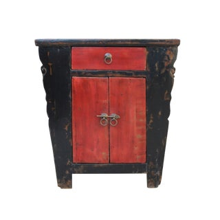 Distressed Red Black Lacquer Credenza Bathroom Vanity Table Cabinet For Sale