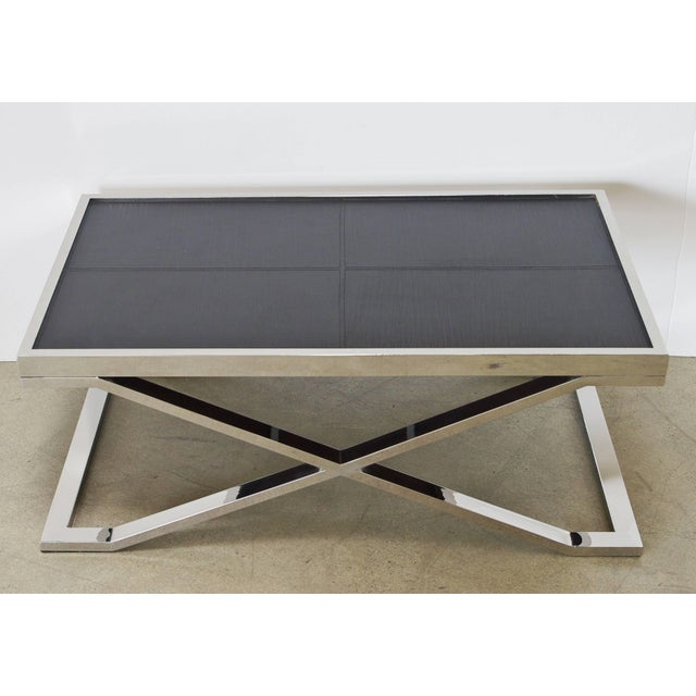 Modern Black Leather and Stainless Steel Coffee Table by Fabio Ltd For Sale - Image 3 of 8