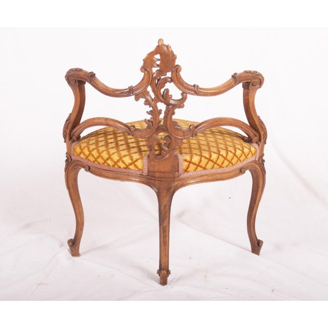 Carved Louis XV walnut corner chair, France, 1870 For Sale - Image 10 of 11