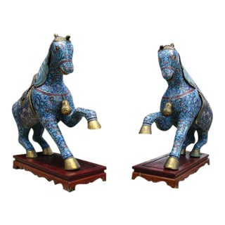 Cloisonne Horses With Rosewood Bases - A Pair For Sale