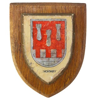 Vintage Norway Crested Wall Plaque For Sale