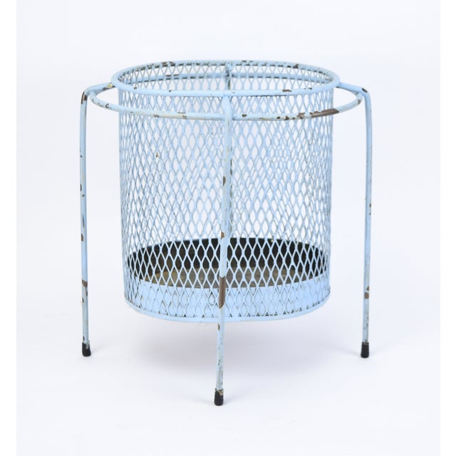 Wonderful floating iron mesh waste paper basket or catch-all designed by Maurice Duchin (circa 1953)with period influences...