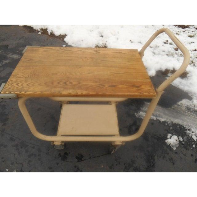 Vintage 1960s Industrial Rolling Bar Cart/Server - Image 3 of 5