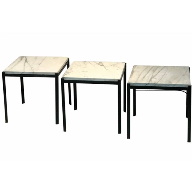 1970s Mid-Century Modern Marble Top Nesting Tables - Set of 3 For Sale In Philadelphia - Image 6 of 6