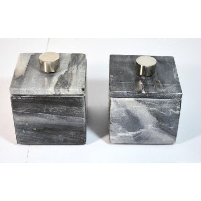 Contemporary Small Square Slate Gray Marble Boxes - A Pair For Sale - Image 4 of 7