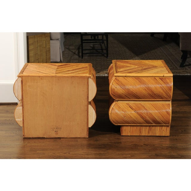 Magnificent Restored Pair of Bullnose Small Chests in Bamboo, Circa 1980 For Sale - Image 4 of 13