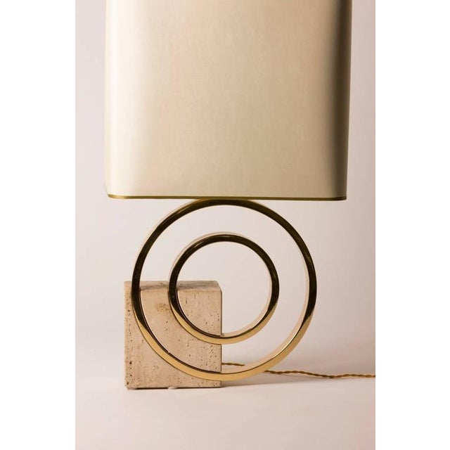 French Mid-Century Geometric Brass and Stone Table Lamp - Image 2 of 3