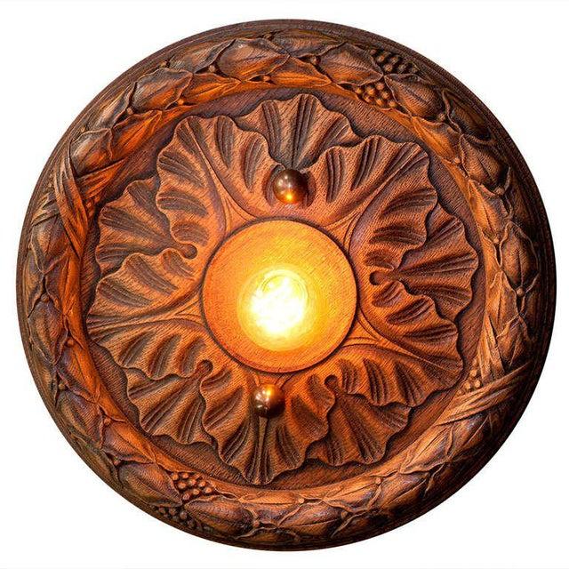 Belgian Belgian Wooden Flush Mount Light For Sale - Image 3 of 3
