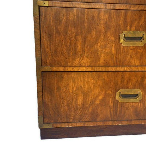 1970s 1970s Campaign Dixie Furniture Company 3 Drawer Matching Bachelor Chests - a Pair For Sale - Image 5 of 12
