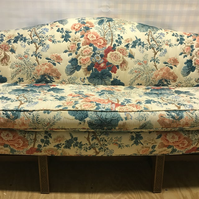 Boho Chic Hollyhock Chintz Camelback Sofa For Sale - Image 3 of 11