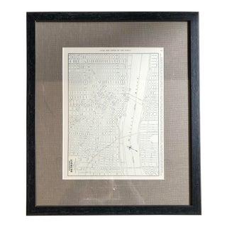 Framed Downtown Detroit Map