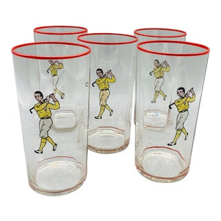 Vintage Tumblers With Golfer/ Antique Drinking Glasses With Image of a Golfer - Set of 5 For Sale