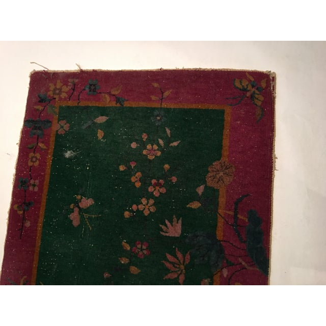 Antique Chinese Art Deco Flowers & Birds Rug - 2′11″ × 4′10″ - Image 7 of 9