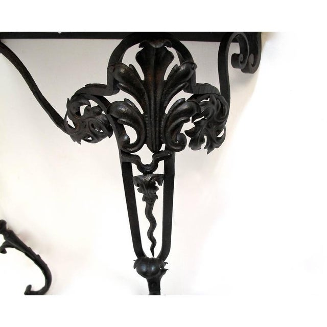 19th Century French Wrought Iron and Marble Console Table - Image 8 of 8