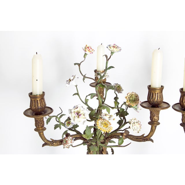 Late 19th Century Pair of French Belle Epoque Gilt Bronze Porcelain Candelabra For Sale In Dallas - Image 6 of 13