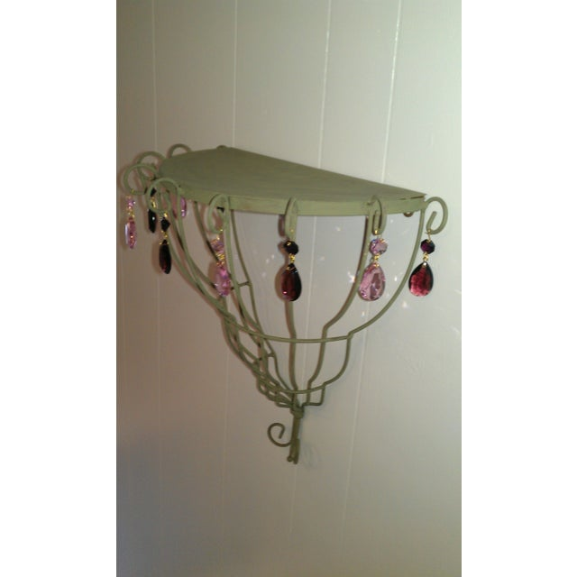 Shabby Chic Half Moon Decorative Shelf with Crystal Accents For Sale - Image 3 of 4