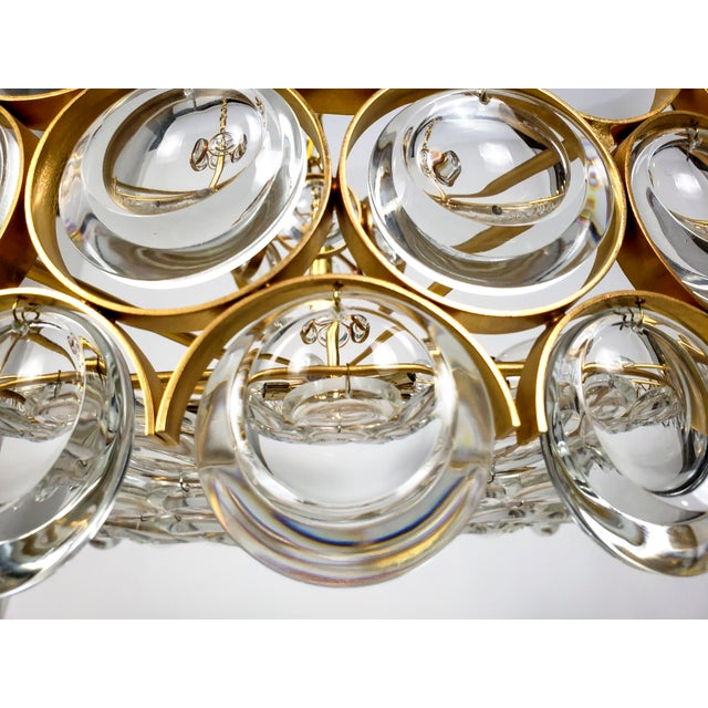 1960s Large Palwa Circular Gilt Brass and Optical Lens Crystal Chandelier (2 Available) For Sale - Image 5 of 11