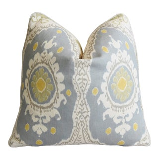 "Lewis & Wood Linen Ikat Bukhara Oasis Feather/Down Pillow 21"" Square For Sale"