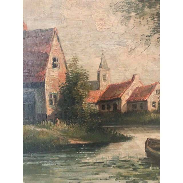 Shabby Chic Early 20th Century European Village Scene Landscape Oil Painting For Sale - Image 3 of 7
