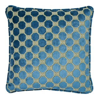"""Contemporary Schumacher Octavia Velvet Peacock Two-Sided Pillow - 18ʺW × 18""""H For Sale"""