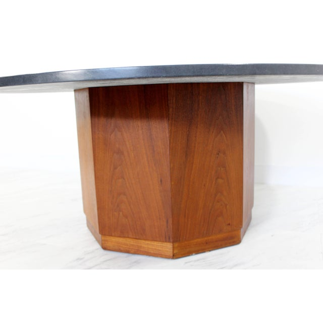 For your consideration is an iconic coffee table by renowned architect Fred Kemp, from the 1960s. The round slate top with...