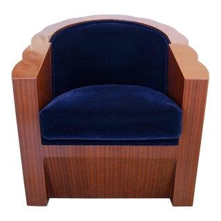 Blue Mohair Art Deco Style Club Chair