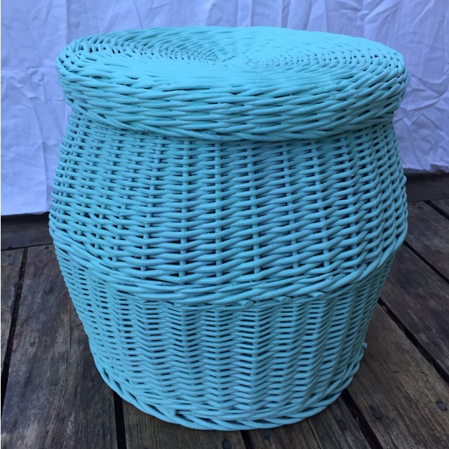 Vintage Turquoise Lidded Wicker Basket - Image 2 of 10