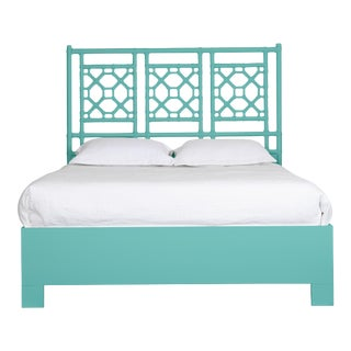 Lattice Back Bed Queen - Turquoise For Sale