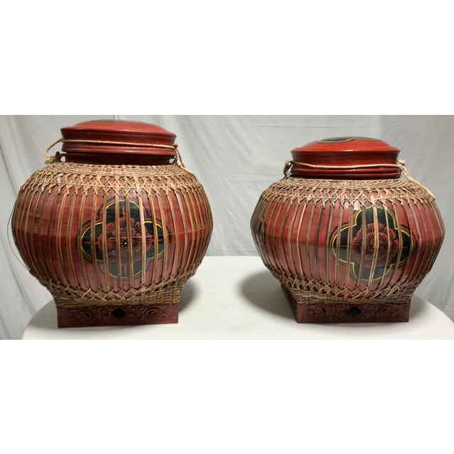Early 20th Century Vintage Asian Paper Mâché Coated Rattan Storage Containers- A Pair For Sale - Image 11 of 11