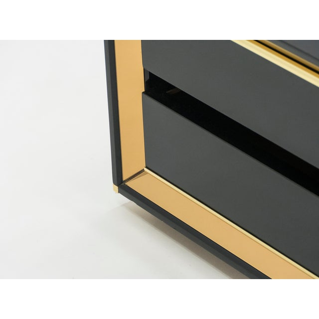 1970s Italian Sandro Petti Black Lacquered Brass Mirrored Nightstands Tables, 1970s For Sale - Image 5 of 13