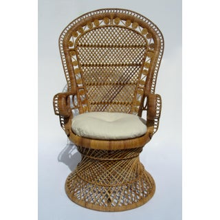 C1970s Vintage Bohemian Eclectic Boho Chic Rattan Raw Wicker Peacock Chair Preview