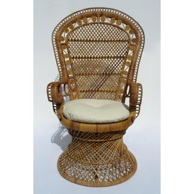 """C.1970s; Vintage, hand-made and woven, raw wicker/rattan Peacock chair or as it is also often called, a """"Princess,"""" chair...."""