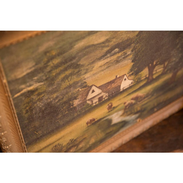 Sheep Grazing Antique Painting For Sale - Image 10 of 11