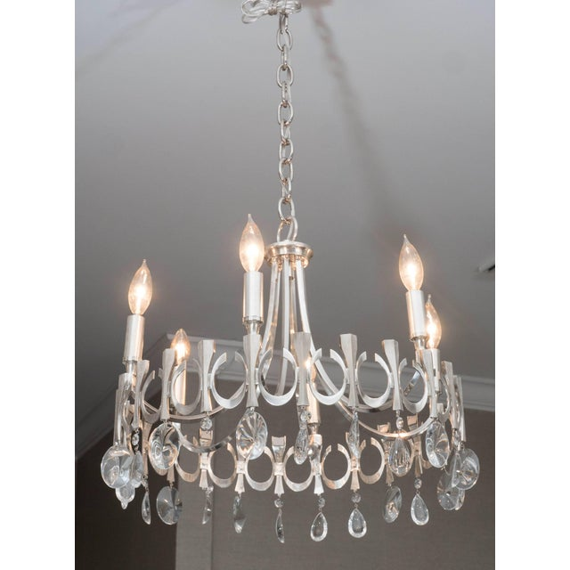 Silver Silverplate Six-Light Chandelier Attributed to Sciolari For Sale - Image 8 of 9