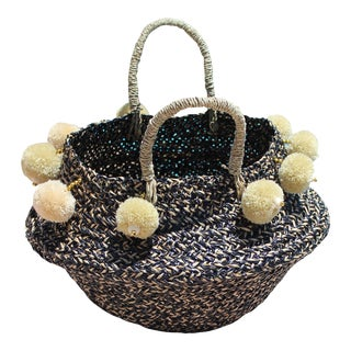 Pura Woven Beach Basket Bag - With Beads and Nude Beige Poms