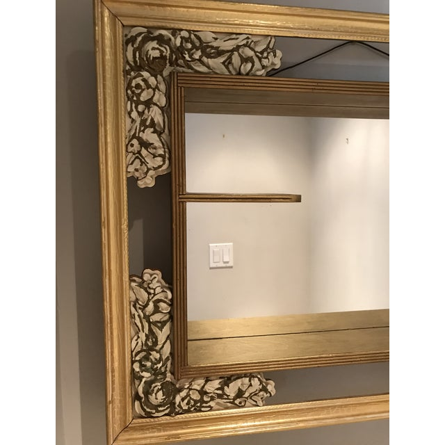 Mid-Century Modern Mid-Century Modern Gilded Shadow Box Mirror With Carved Roses For Sale - Image 3 of 9