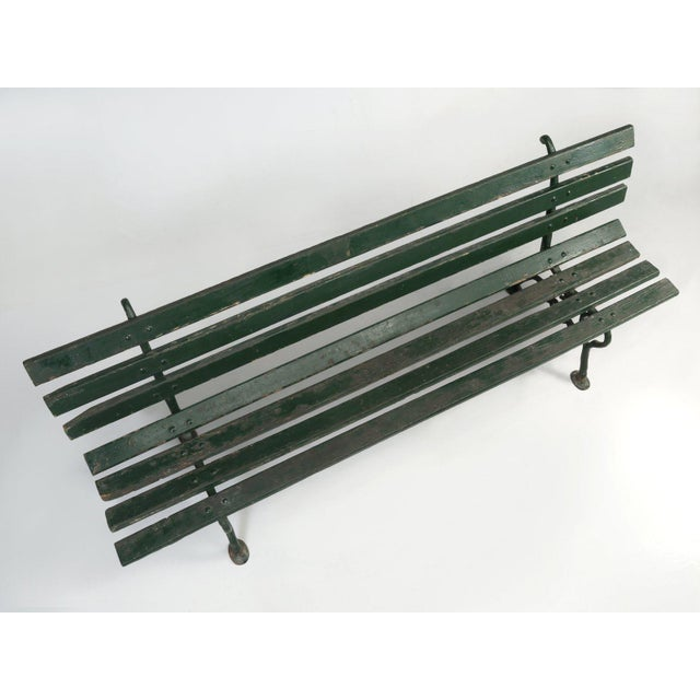 Antique French Cast Iron & Wood Garden Bench For Sale - Image 9 of 13