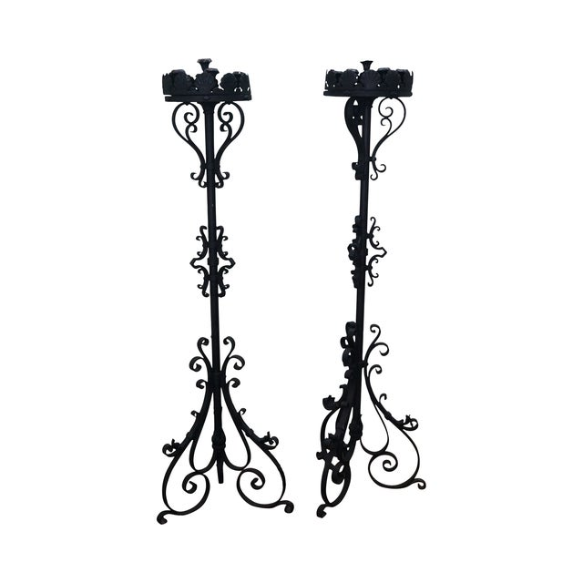 Quality Wrought Iron Torchieres Candle Holders - Image 1 of 10