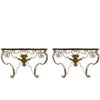 French Gilt Iron Wall-Mounted Faux Painted Marble Top Consoles - a Pair