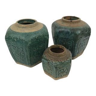 Antique Green Glazed Ginger Jars - Set of 3 For Sale