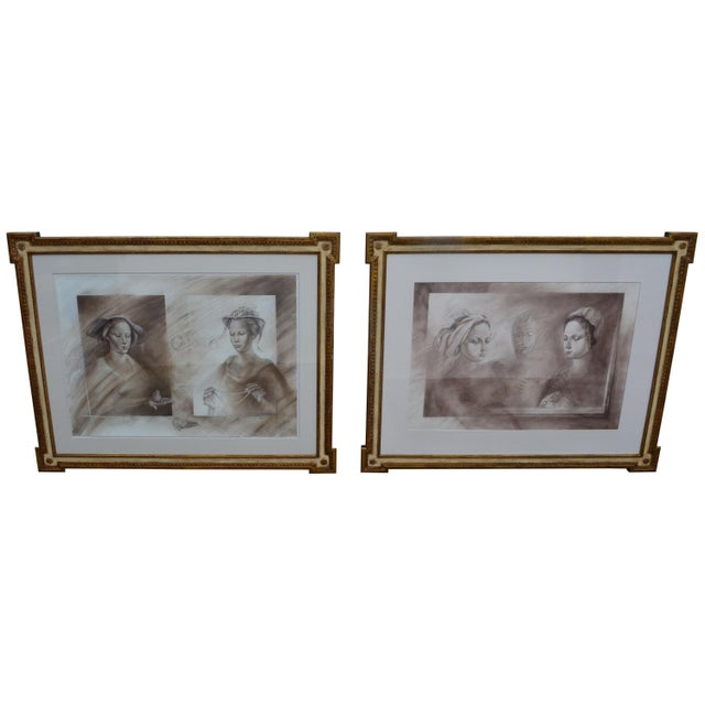 Set of Two Pencil and Charcoal Portraits For Sale - Image 11 of 11