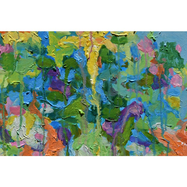 "Abstract ""Bouquet on a Blue Ground"" Painting by Stephen Remick For Sale In Providence - Image 6 of 13"
