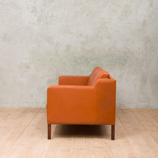 Danish Modern 1970s Vintage Stouby Cognac Leather 3 Seat Sofa For Sale - Image 3 of 12
