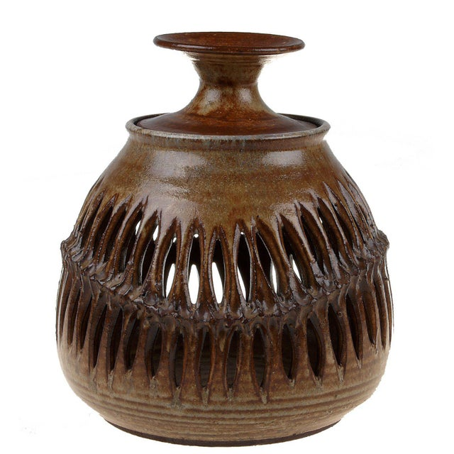 Signed Robledo 78 candle holder. One tea light candle can be placed inside the bottom part and one on the top of the...