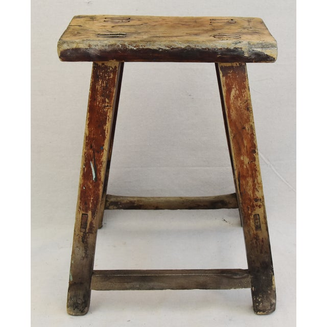 Rustic Primitive Country Wood Farmhouse Stool - Image 3 of 11
