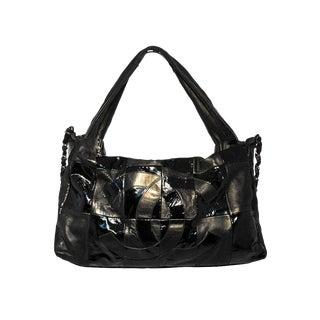Chanel Black Checkered Leather Shoulder Bag Shopper Tote For Sale